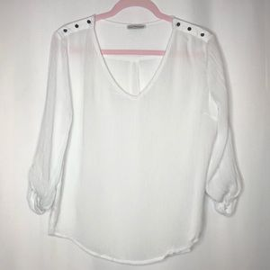 Dainty Hooligan White Silver button top